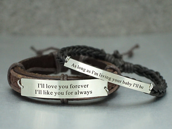e2105627cf767 Matching Couple Bracelets, His and Her Bracelet, Personalized Quote  Bracelet, Leather& Cord Bracelet
