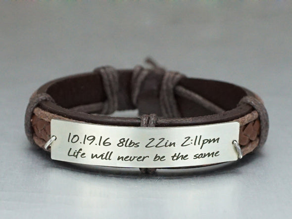 New Born Memorial Bracelet, Baby Birth Announce, Infant Birth Record
