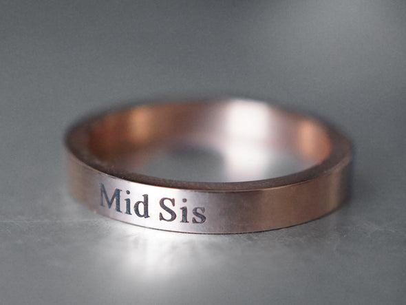 3 Sisters Ring Set, Rose Gold Rings, Sister jewelry, Big Sis, Mid Sis, Lil Sis, Gift for Sisters