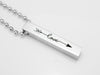 Arrow Love Engraved Necklace, Silver Vertical Bar Necklace