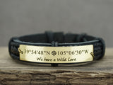 Couples Bracelets, Custom Coordinates Bracelet, His and Her Bracelet, Leather Matching Bracelets