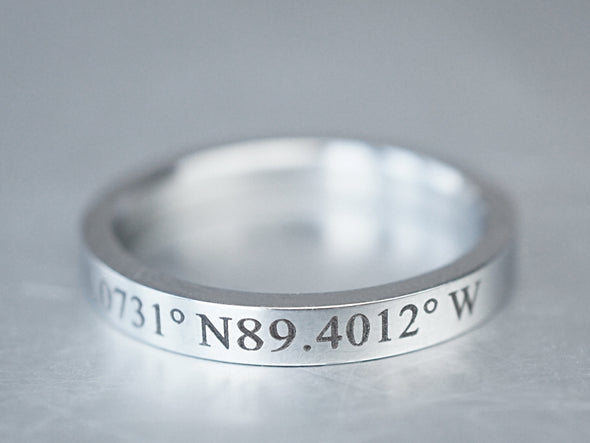 Custom Coordinate Rings For Couples, Matching Couple Rings,Latitude Longitude,Location Engraved Ring