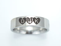 Musical Wedding Ring With Piano Keys, Initial Ring with Heart Design
