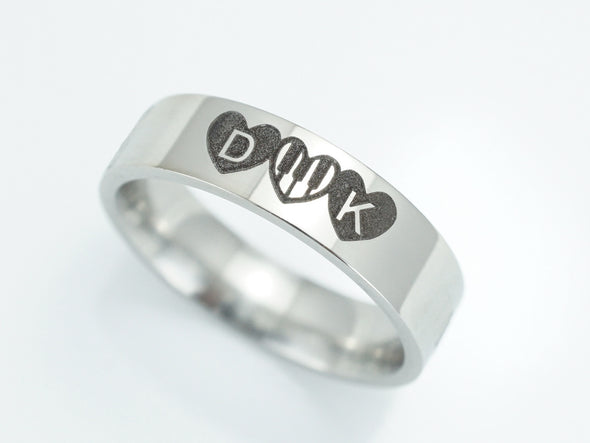 Musical Wedding Ring With Piano Keys, Initial Ring with Heart Design, Silver Promise Ring for Unisex