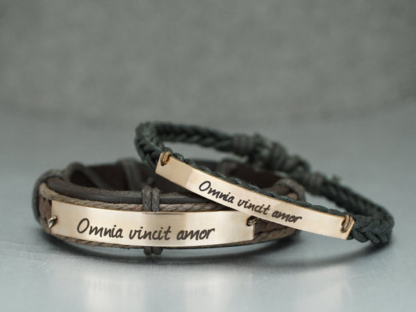 Couple Bracelets- Omnia vincit amor, His and Her Bracelet