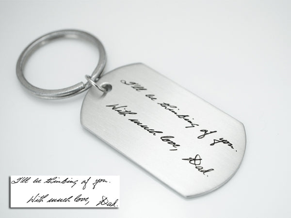 Custom Handwriting Keychain, Memorial Signature Keychain, Dog Tag KeyChain