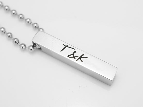 Initial Necklace, Custom Name Necklace, 4 Sided Bar Necklace