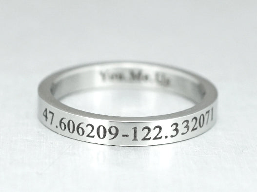Long Distance Ring, Custom Coordinate Ring, Skinny Promise Ring, Engraved Ring, Latitude Longitude