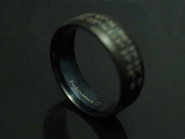 Mens Ring, Promise Rings for Men, Engraved Ring, Wedding Ring for Him, Black Stainless Steel Ring
