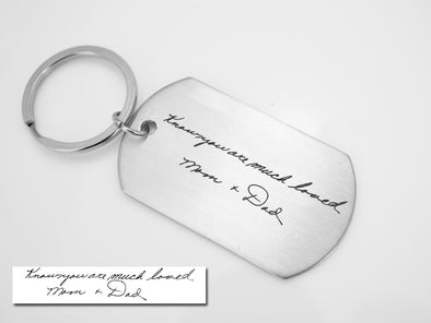 Memorial Signature Keychain, Custom Handwriting Keychain, Dog Tag KeyChain