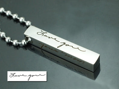 Memorial Signature Necklace, Custom Handwriting Necklace, Love You Necklace, Vertical Bar Necklace