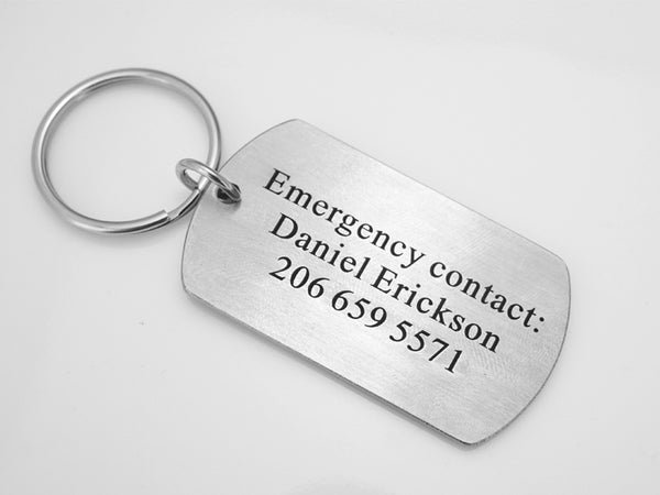 Emergency Contact Keychain, Phone Number, Children Emergency Accessory