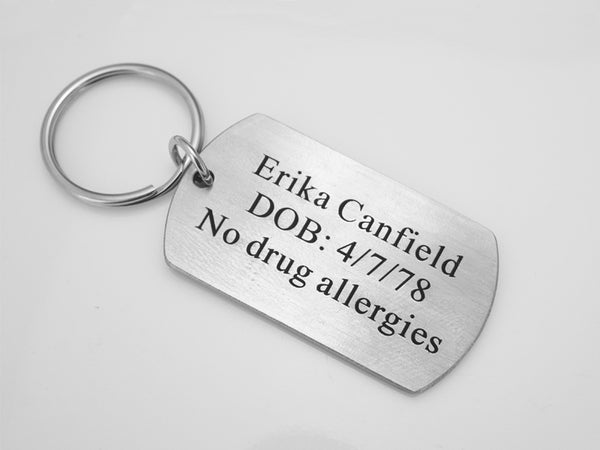 Personalized Medical Alert Tag, Allergy Keychain for Emergency, Dog Tag Key Chain