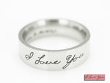 I Love You Custom Handwriting Ring, Memorial Signature Ring