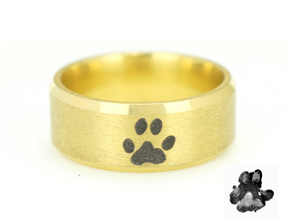Gold Actual Dog Paw Print Ring, Pet Ring, Pet Lover Ring