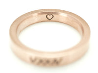 Rose Gold Heart Ring, Promise Ring, Love Ring, Date Ring, Roman Numeral Ring, Inside Engraved Ring