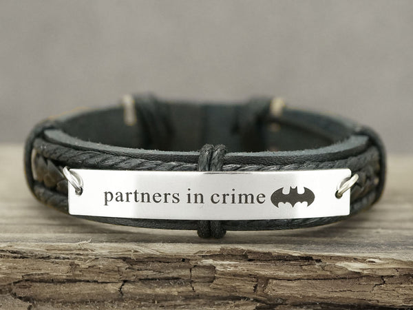 Partners In Crime Bracelet, Batman Bracelet, Best Friend Jewelry, BFF Jewelry