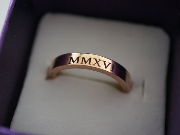 Custom Roman Numeral Ring, Womens Ring, Rose Gold Promise Ring