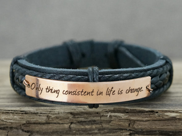 Mens Inspirational Jewelry, Custom Mens Leather Bracelet