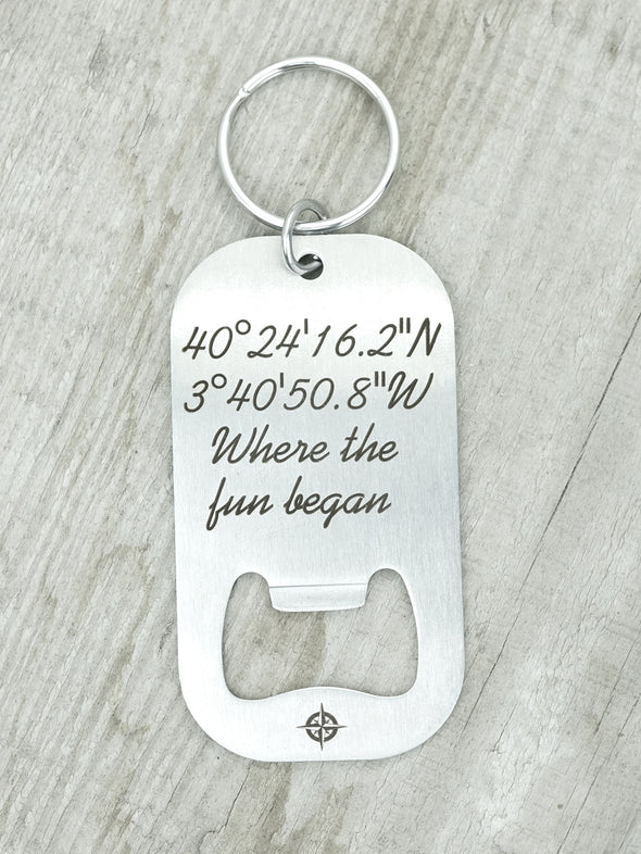 Latitude Longitude Bottle Opener Keychain, Custom Coordinates Key Chain, Compass Coordinate Engraved