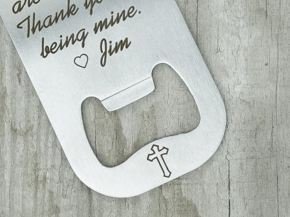 Godfather Keychain, Baptism Gift, Cross Charm Engraved, Christening Keychain, Engraved Bottle Opener