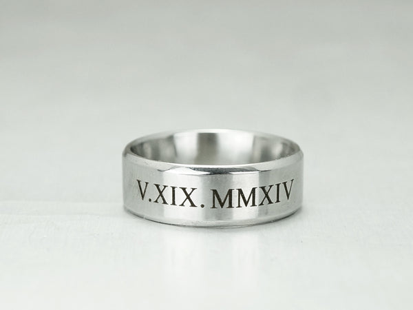 Roman Numeral Ring For Men, Custom Date Engraved Ring, Silver Wedding Ring,  Anniversary