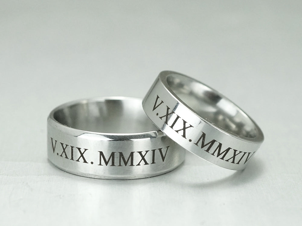 Roman Numeral Ring For Men Custom Date Engraved Ring
