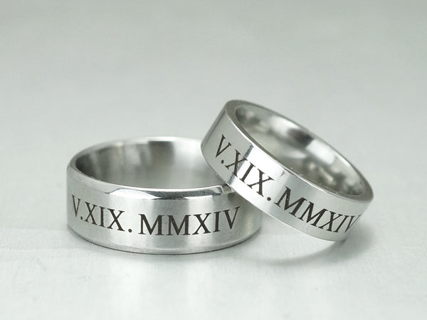 ... Roman Numeral Ring For Men, Custom Date Engraved Ring, Silver Wedding  Ring, Anniversary