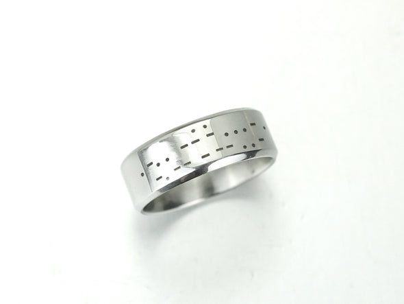 I Love You Morse Code Ring, Mens Ring, Hidden Message Ring