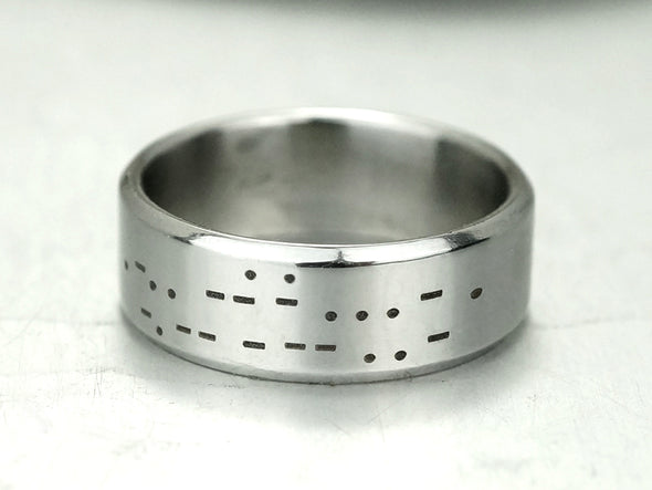 I Love You Morse Code Ring, Mens Ring, Hidden Message Ring, Secret Message Band Ring, Promise Ring