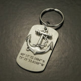 Coordinate Keychain, Anchor Keychain, Latitude Longitude Keychain, Dog Tag for Men