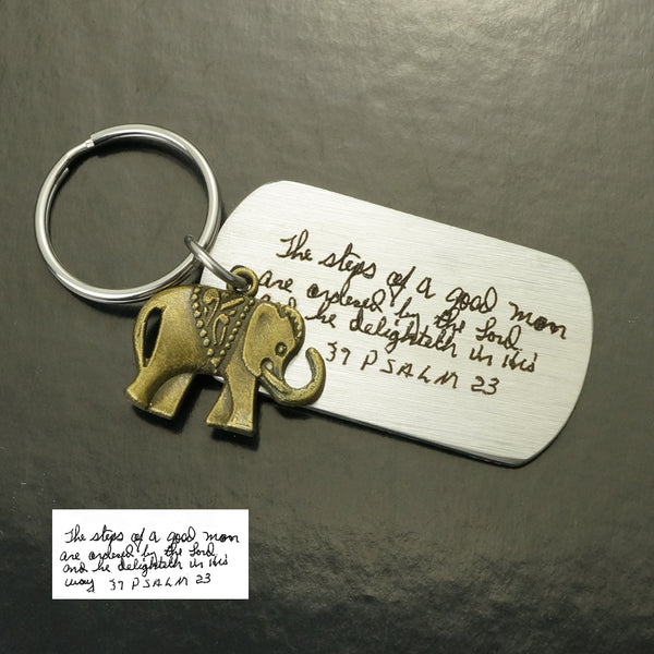 Handmade Handwriting Keychain, Memorial Signature & Bronze Elephant Keychain, Customized Dog Tag