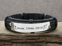 Custom Mens Leather Bracelet, Arrow Bracelet, Coordinate Bracelet, Love Bracelet, Memorial Keepsake