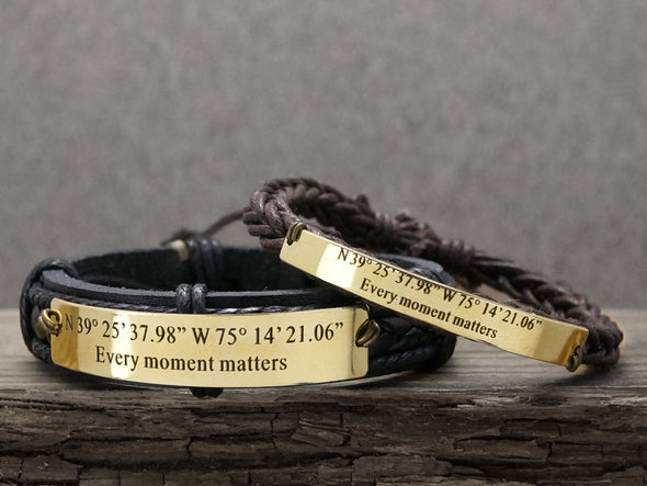 Matching Couple Bracelets, Custom Coordinates Bracelet, Long Distance Relationship, Adventure Bracelet