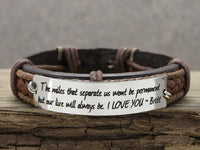 Long Distance Relationship Bracelets, No Matter Where Bracelet, his and hers Jewelry, Leather Cuff for Couple