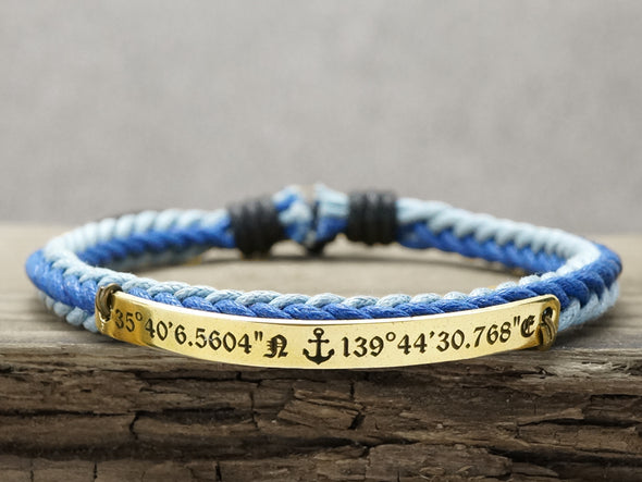 Custom Coordinates Bracelet, Anchor Bracelet, Engraved Bracelet,Skinny Cord Braided,Nautical Jewelry