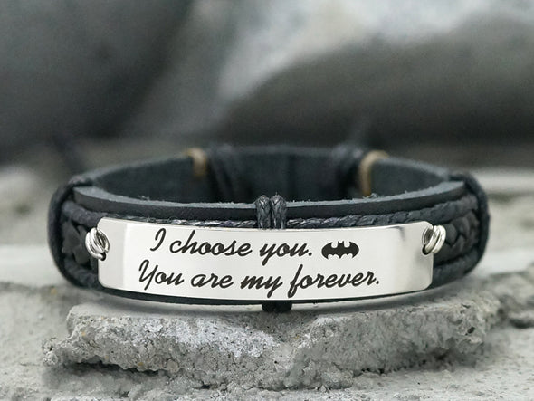 Partners In Crime Bracelet, Batman Bracelet, Best Friend Jewelry, BFF Jewelry, Engraved Bracelet