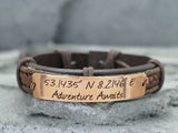 Custom Coordinates Bracelet, Adventure Awaits Jewelry, Custom Mens Leather Bracelet, Engraved Cuff