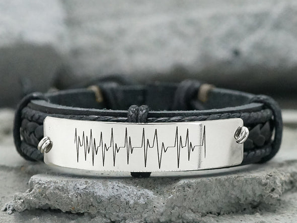 Custom Heartbeat Bracelet, EKG Bracelet, Newborn Memorial, Leather Engraved Jewelry