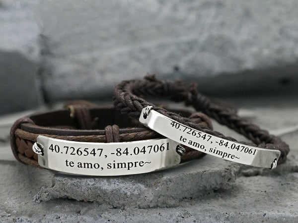 Promise Bracelets for Couples, Matching Latitude Longitude Bracelets, Splanish Quote Engraved- te amo simpre, Real Leather Braided Cuff