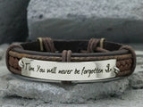 Mens Engraved Bracelet, Step dad Stepmom Adoptive Father Gift, Father's Day Gift,Genuine Leather Cuff