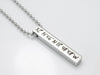 Custom Coordinates Necklace, Silver Pendant Necklace, Vertical Bar Necklace, 4 Sided Bar Necklace