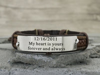 Anniversary Bracelet, Personalized Anniversary Gift For Him, Custom Date Engraved Leather Bracelet