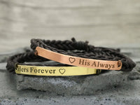 His and Her Forever Always Bracelets, Matching Couple Bracelets, Custom Engraved Cord Braided Bracelet