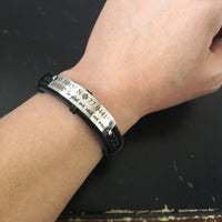 Custom Coordinates Bracelet, Mens Leather Cuff, Where the story began, Quote Engraved Bracelet