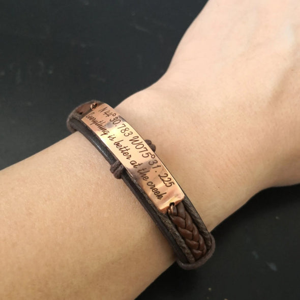 Coordinates Couple Bracelets, Customized Matching Leather Bracelets