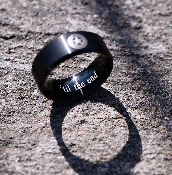 Captain America Ring, Mens Band Stainless Steel, Super Hero, Gift for Dad
