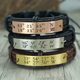 Custom Coordinates Bracelet, Engraved Location Bracelet, Personalized Mens Bracelet, Genuine Leather