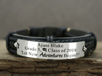 Inspirational Graduation Bracelet for Classmate, Class of 2019 Gift, High School/College Graduate, Personalized Real Leather Band