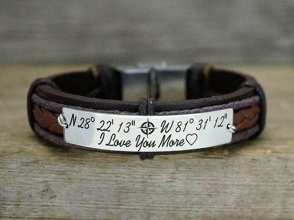 Couples Bracelet, His and Her Bracelet, Custom Coordinates Bracelets, Personalized Leather Bracelet